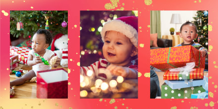 Three images of different babies opening gifts on Christmas