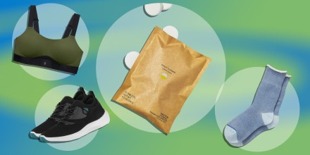 Paid of blue Brooklinen socks, Green sports bra from ThirdLove's new activewear collection, pair of black sneakers from Vessi and Blueland toilet bowl cleaner