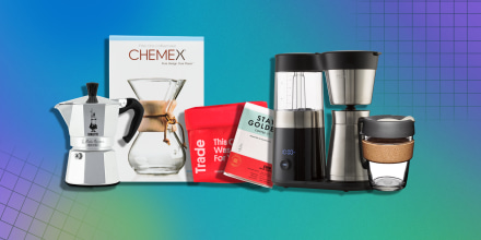 Illustration of a Chemex Pour-Over Glass Coffeemaker, Coffee from Trade, Bialetti Moka Express, KeepCup Reusable Coffee Cup and a OXO 9-Cup Coffee Maker