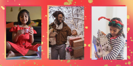 Images of tow little girls with gifts and Father and daughter walking outside holding holiday gifts