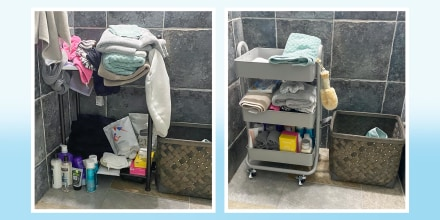 Before and After image of Writer Terri Peters bathroom, after using a storage cart to organize