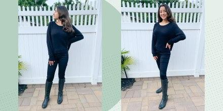 Writer Jillian Ortiz wearing slimming black jeans outside
