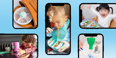 Illustration of different parenting hacks popular on TikTok, for taking care of the kids