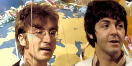 Paul McCartney and John Lennon at a press call for Our World broadcast.