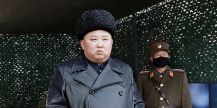 Image: North Korean leader Kim Jong Un visits a drill of long-range artillery sub-units of the Korean People's Army