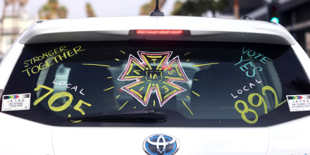A driver displays their support for the IATSE union on Oct. 07, 2021, in Los Angeles.