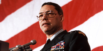 Chairman of the Joint Chief of Staff General Colin Powell addresses the Veterans of Foreign Wars on March 4, 1991, in Washington.