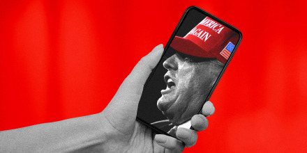 Illustration of a hand holding a phone showing former President Donald Trump speaking at a campaign rally.