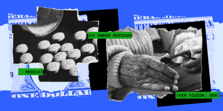 """Photo illustration: Pieces of a paper showing pills and an elderly person's hand holding a pair glasses, green strips show pieces of text that read,\""""medicaid\"""",\""""medicare\"""" and \""""vision, dental\""""."""