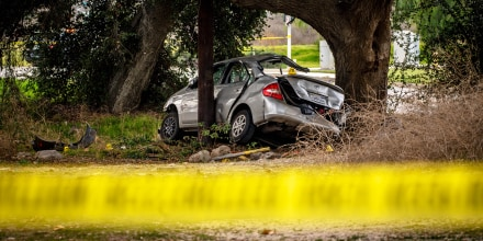 California Highway Patrol investigates the scene of a crash that killed three teens and injured three others at Temescal Canyon Road and Trilogy Parkway in the Temescal Valley area south of Corona on Jan. 20, 2020.