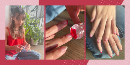 Three images of Writer Cailey Rizzo using a nail polish stamper
