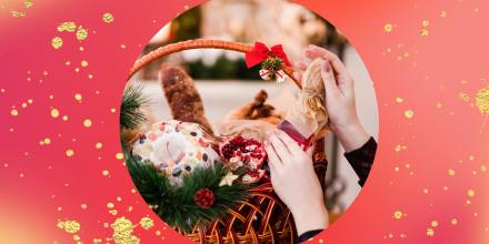 Christmas goods basket holiday food