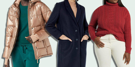 Three models wearing a jacket and sweater from the Amazon Essentials collection
