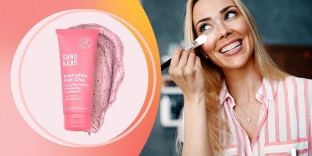 Illustration of a Woman putting on makeup and the Australian Pink Clay Flash Perfection Exfoliating Treatment