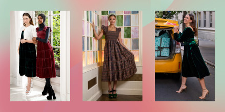 Three images of different models wearing the Hill House Nap Dress