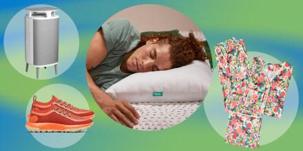Rifle Paper Co. and Summersault sleepwear set, Man sleeping on a Brooklinen Marlow pillow, Blueair's new air purifier and a pair of the new Allbirds Trail Runner SWT sneaker
