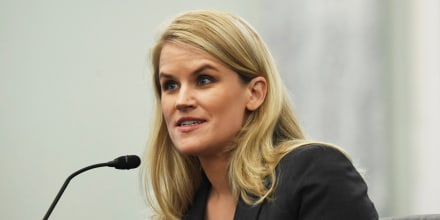 Former Facebook employee and whistleblower Frances Haugen testifies during a Senate hearing on Oct. 5, 2021.