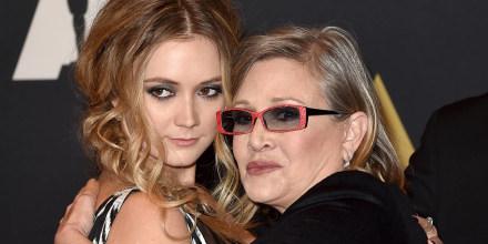 Carrie Fisher y su hija Billie Catherine Lourd en el Ray Dolby Ballroom en Hollywood, California.