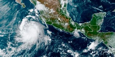 La tormenta tropical Pamela la mañana del lunes 11 de octubre de 2021, en el Pacífico mexicano