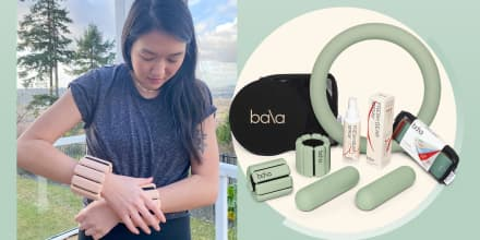Illustration of different Bala products in green and editor Alicia Tan putting on her Bala Weights
