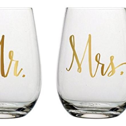 Slant Mr & Mrs Stemless Wine Glasses- Set of 2 (Amazon)