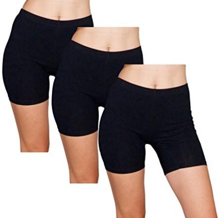 Emprella Slip Shorts  3-Pack Black Bike Shorts  Cotton Spandex Stretch Boyshorts For Yoga,Black,Small