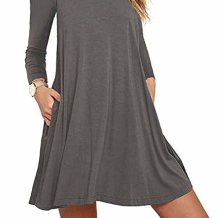 Unbranded* Women Long Sleeve Round Neck Summer Casual Loose Dress Gray Medium