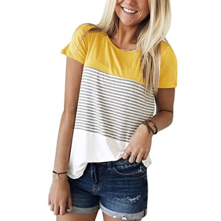 YunJey Short Sleeve Round Neck Triple Color Block Stripe T-Shirt Casual Blouse Yellow