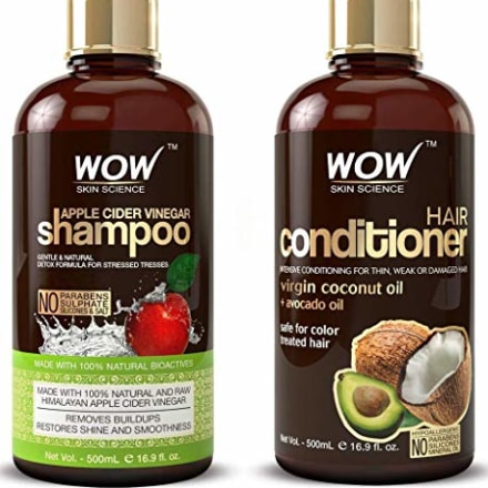 WOW Apple Cider Vinegar Shampoo and Hair Conditioner Set Increase Gloss, Hydration, Shine, Reduce Itchy Scalp, Dandruff & Frizz, No Parabens or Sulfates, All Hair Types, 2 x 16.9 Fl Oz 500mL