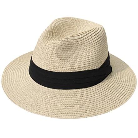 Lanzom Straw Panama Roll-Up Hat UPF50+