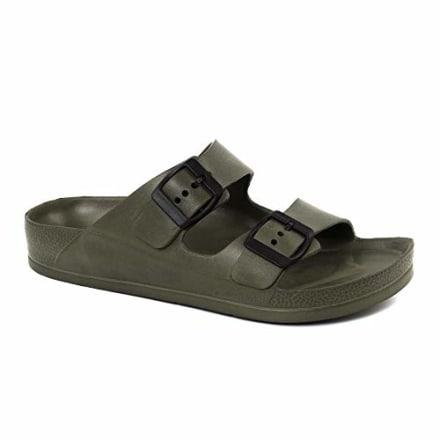 FUNKYMONKEY Women's Comfort Slides Double Buckle Adjustable EVA Flat Sandals (6 M US, Army Green/Sandals)