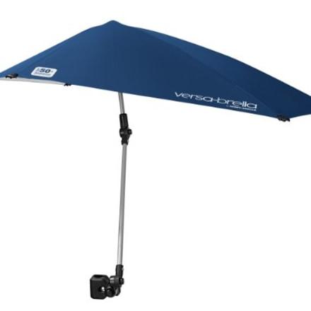 Sport-Brella Versa-Brella SPF 50+ Adjustable Umbrella with Universal Clamp, Regular, Black/White