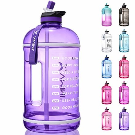 Vmini Water Bottle with Time Marker, Motivational Water Bottle & 1 Gallon Water Bottle with Time Marker to Drink More Daily - Leakproof Reusable Gym Sports Outdoor Large Capacity (128 oz, Purple)