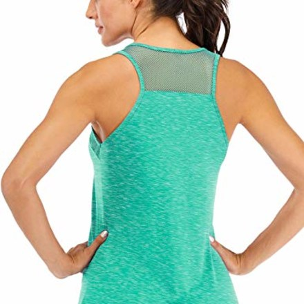 ICTIVE Workout Tank Tops for Women Breathable Mesh Racerback Tank Tops Muscle Tank Workout Tops for Women Yoga Tops for Women Loose fit Backless Running Tank Tops Gym Tops Light Green S