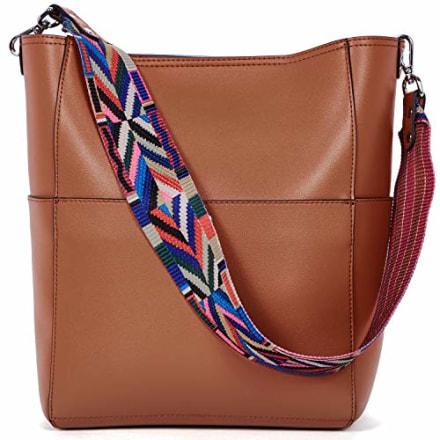 BROMEN Women Handbag Designer Vegan Leather Hobo Handbags Shoulder Bucket Cross-body Purse Brown