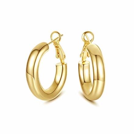 SHOWNII Gold Tube Chunky Hoop Earrings Howllow Round Hoops for Women