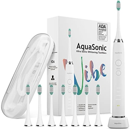AquaSonic Vibe Series Ultra Whitening Toothbrush - ADA Accepted Electric Toothbrush - 8 Brush Heads & Travel Case - Ultra Sonic Motor & Wireless Charging - 4 Modes w Smart Timer - Satin Optic White