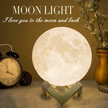 Mydethun Moon Lamp Moon Light Night Light for Kids Gift for Women USB Charging and Touch Control Brightness Warm and Cool White Lunar Lamp(7.1 inch)