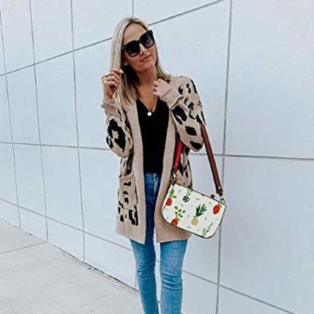 Merokeety Leopard Knit Cardigan