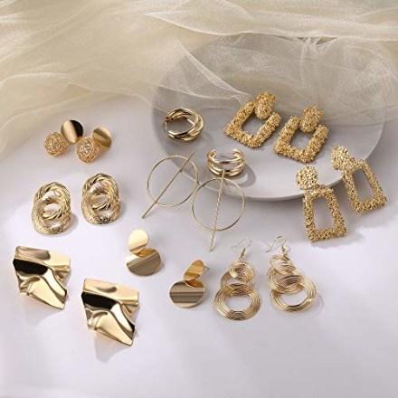 Fesciory Statement Drop Earrings (13 Pairs)