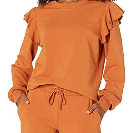 The Drop Ruby Ruffle-Shoulder Supersoft Sweatshirt
