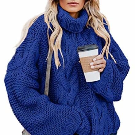 Dokotoo Cable Knit Oversized Turtleneck Sweater