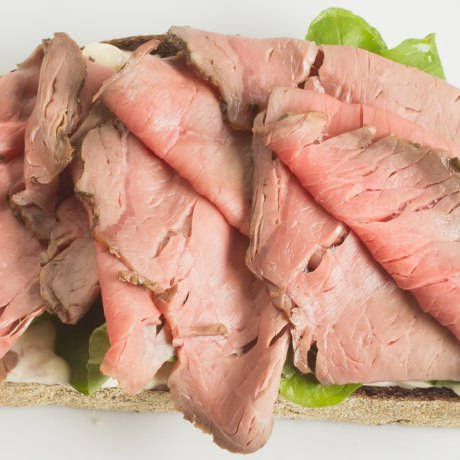 Roast beef, horseradish mayo, and arugula sandwich