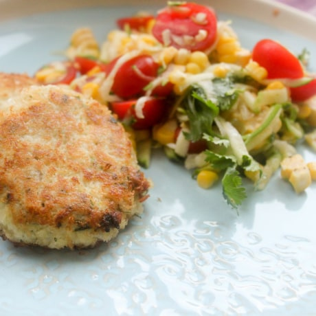 Tilapia fish cakes with corn tomato salad