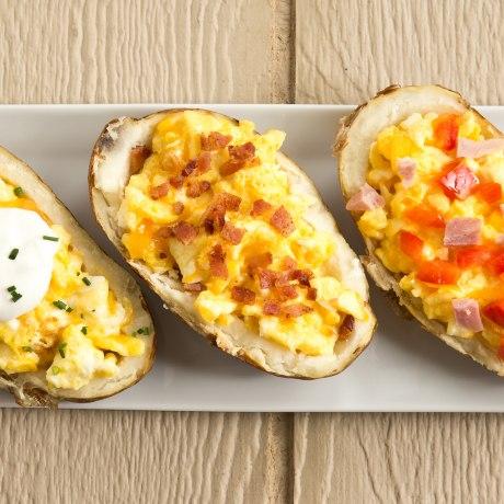 Breakfast Potato Boats Stuffed with Cheesy Eggs