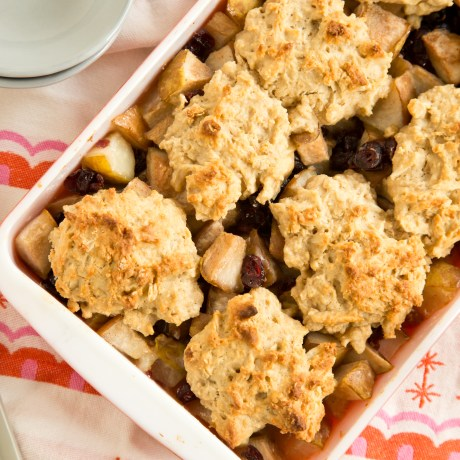 Breakfast Fruit Cobbler: Bake uncovered for about 45 minutes, until the fruit is softened, its liquid is bubbling around the edges of the dish and the cobbler topping is golden brown and crispy.