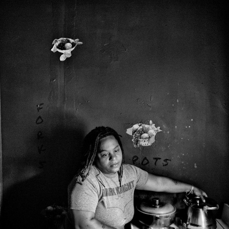 Philadelphia, PA.  Philadelphia has a population of 1,526,006 and 26.7% live below the poverty level.  Dawn Hawkins cooks at home.