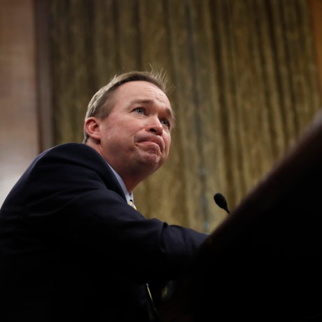 Image: Budget Director-designate Rep. Mick Mulvaney, R-S.C., pauses as he testifies on Capitol Hill in Washington, D.C., Jan. 24, 2017.