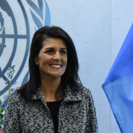 Newly appointed U.S. Ambassador to the United Nations Nikki Haley presents her credentials to U.N. Secretary-General Antonio Guterres at U.N. headquarters in New York City