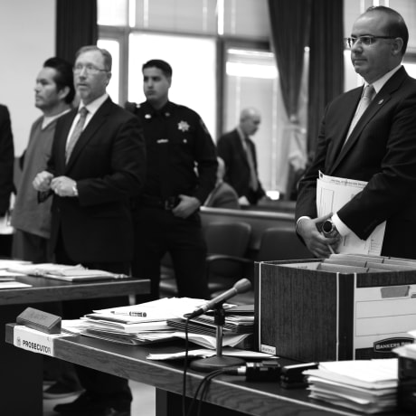 A defendant is arraigned at Hudson County Superior Court in Jersey City, N.J.